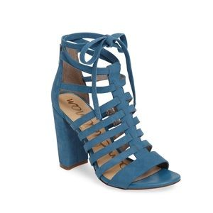 New Sam Edelman Blue Block Heeled Sandals Size 8.5